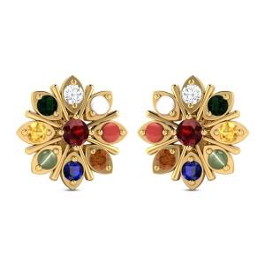 Blooming Navratna Orchid Gemstone Earrings
