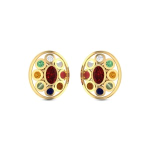 Namor Stud Navratna Earrings