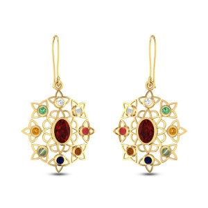 Rangoli Navratna Earrings