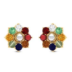 Floral Navratna Stud Earrings