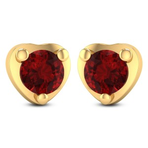Heart-in-Ruby Stud Earrings