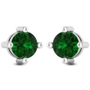 Emerald Solitaire Stud Earrings