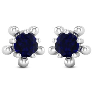 Floral Sapphire Solitaire Stud Earrings