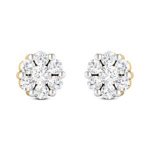 Seven Stone Cluster Stud Earrings