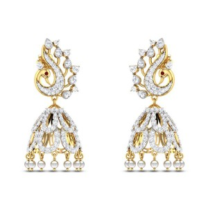 Peacock Diamond Jhumkas