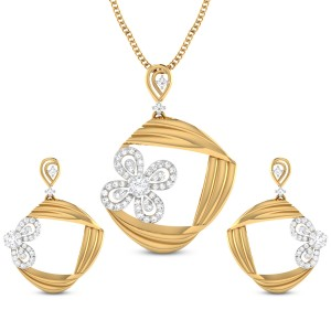 Aahna Floral Diamond Pendant Set