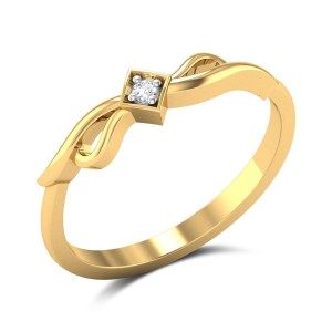 Narcissus Diamond Studded Gold Ring DJRN5163
