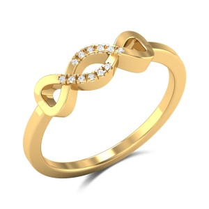 Cosmic Love Diamond Studded Gold Ring DJRN5387