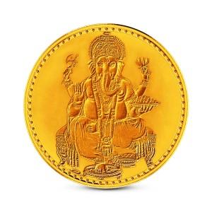 1 Gram 22Kt Hallmarked Ganesha Gold Coin