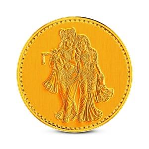 1 Gram 22Kt Hallmarked Radha Krishna Gold Coin