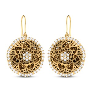 Kaianna Cutout Gold Hanging Earrings