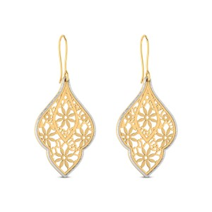 Kagome Cutout Gold Hanging Earrings