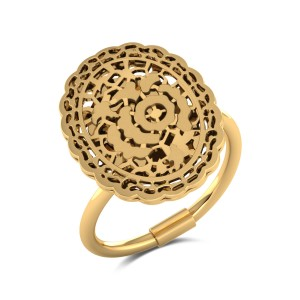 Jagvi Cutout Gold Ring