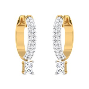 Yulia Solitaire Hoop Earrings