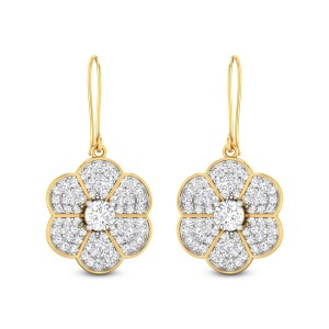 Oaklyn Floral Solitaire Hanging Earrings