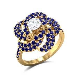 Sapphire Floral Solitaire Ring